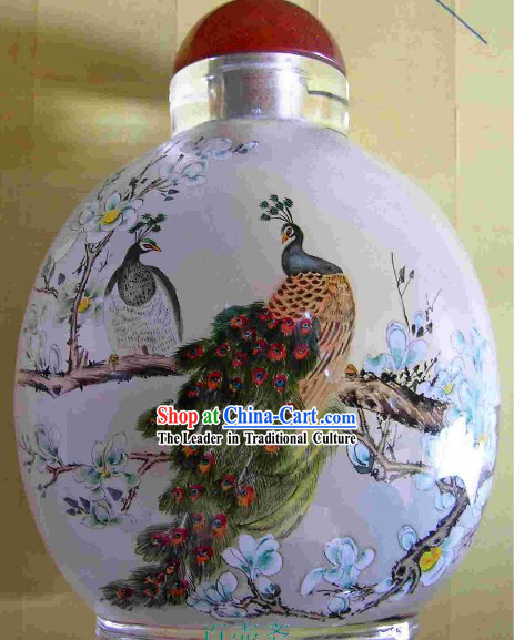 Chinese Classical Snuff Bottle With Inside Painting-Peacock