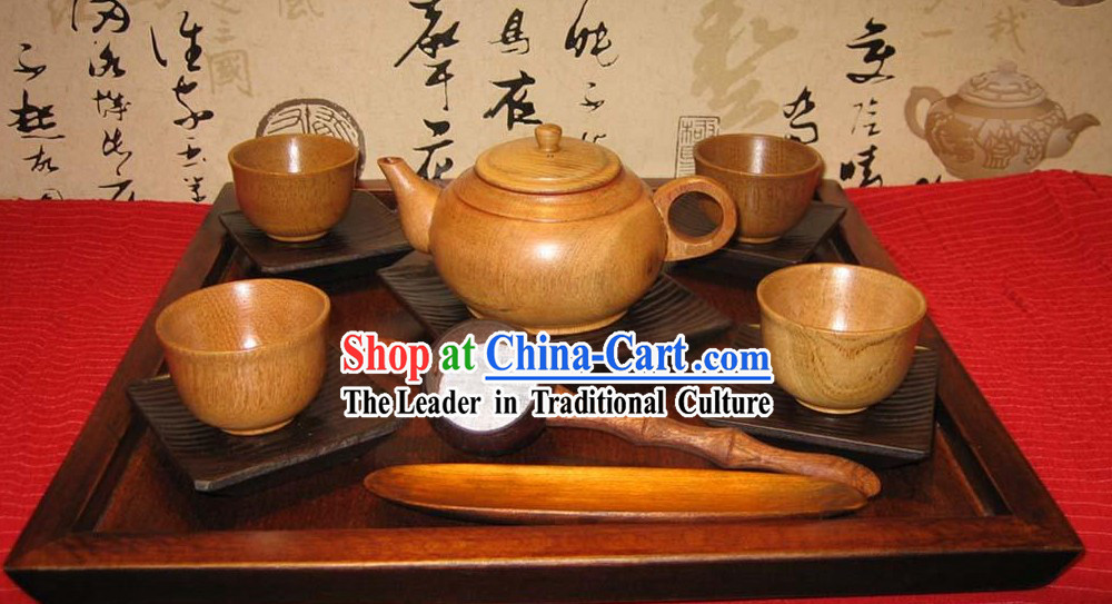Chinese Hand Made Birch Wooden Tea Set (13 Pieces)