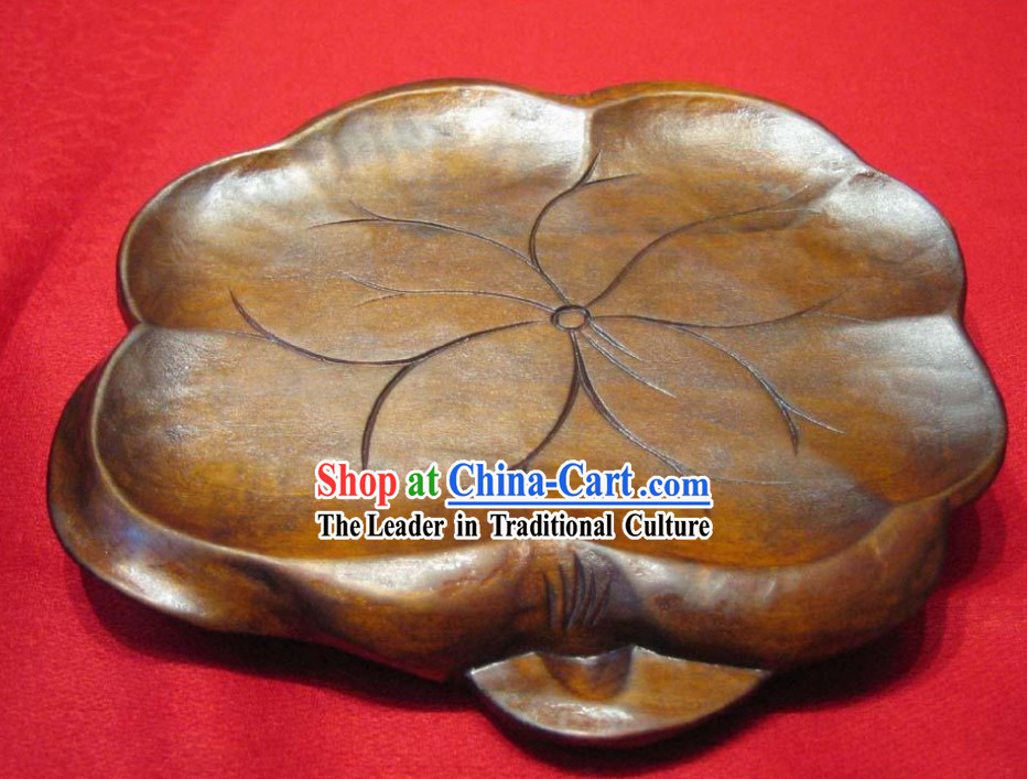 Chinese Hand Made and Carved Wooden Lotus Teapot Mat