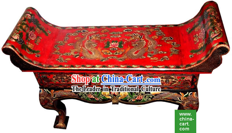 Chinese Coloured Drawing Dragons Three Drawers Large Table_Desk_