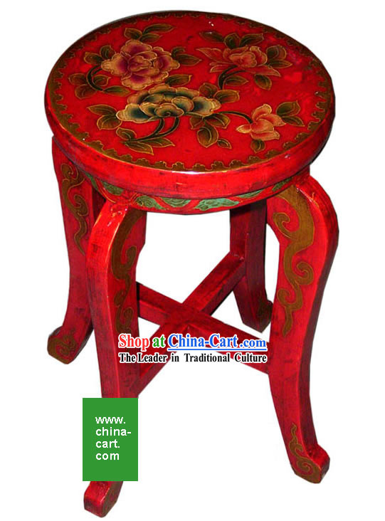 Chinese Antique Style Hand Painted Red Stool