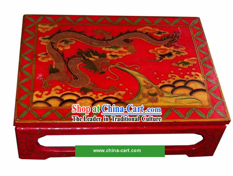 Chinese Coloured Drawing Dragon Tea Table_Kang Table_