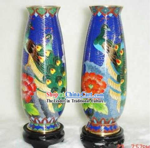 Chinese Cloisonne Vase-Peacock Beauty_Pair_