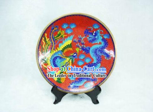Dragon And Phoenix Cloisonne Plate