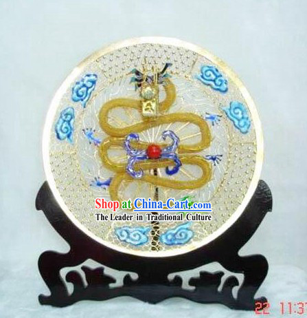 Chinese Palace Cloisonne Dragon Playing Ball Plate