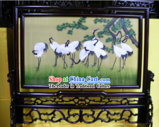 Chinese Double-sided Embroidery Handicraft-Cranes
