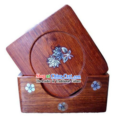 Chinese Hand Carved Natural Rose Wood Tablemats Set _6 Pieces_