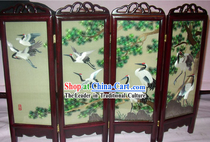 Chinese Embroidery Folding Screen Handicraft-Cranes