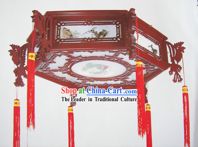 Chinese Classical Hand Made Palace Lotus and Phoenix Ceiling Lantern