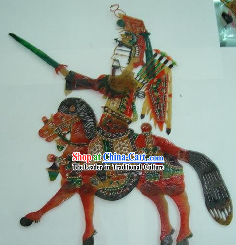 Traditional Chinese Hand Carved Shadow Play - Liu Bei