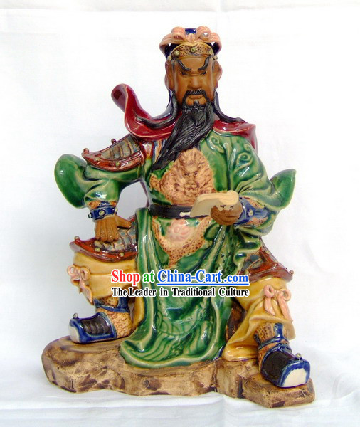 Shiwan Pottery Handicraft Masterpiecs Chinese Guan Gong Reading at Night Statue
