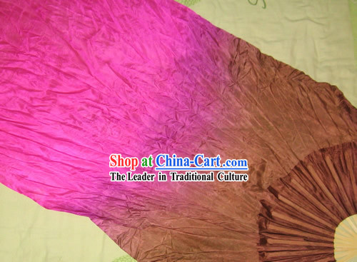 Supreme Bamboo Handle Chinese Traditional Silk Dance Fan (purple to brown color transition)