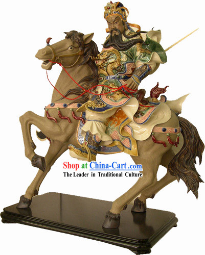 Chinese Classical Shiwan Statue-Guan Gong Riding on a Horse