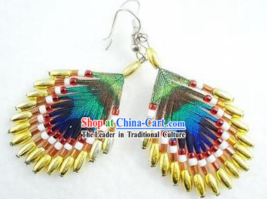 Hand Made Chinese Yi Minority Peacock Feather Earrings