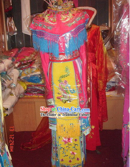 Supreme Chinese Pink Embroidered Phoenix Empress Costumes and Hat Complete Set