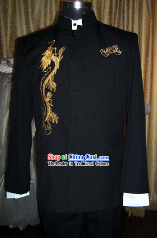 Chinese Stunning Silk Black Dragon Suit for Man