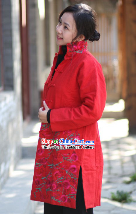 Chinese Classical Handmade and Embroidered Folk Floral Cotton Jacket for Women