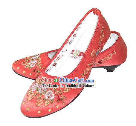 Chinese Traditional Handmade Embroidered Satin Shoes _pomegranate blossom, red_