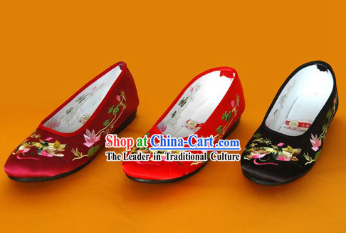 Chinese Traditional Handmade Embroidered Satin Shoes _mandarin duck_