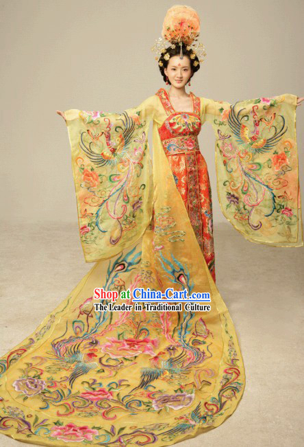 Ancient China National Costumes and Hair Accessories Complete Set