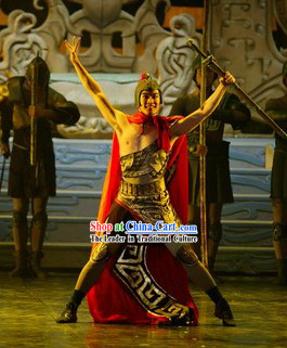 Chinese Ancient General Xiang Yu Dance Costumes and Helmet for Men