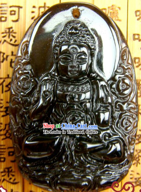 Kai Guang Obsidian Amitabha Pendant (angel of Chinese birth year dog and pig)