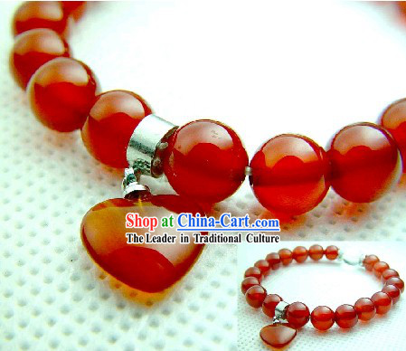 Chinese Classic Kai Guang Red Agate Tibet Silver Bracelet (keep peace and safe)