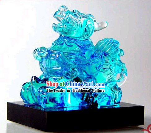 Chinese Classic Kai Guang Blue Colored Glaze Pi Xiu (avoid bad and bring luck)