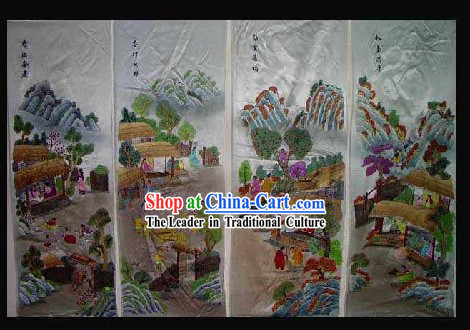 Supreme Chinese Hands Embroidered Collectible Handicraft - People of Four Seasons (four pieces set)