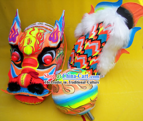Chinese Classic Luminous Dragon Dance Equipments Complete Set _blue_