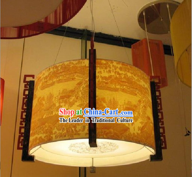 28 Inches Diameter Large Chinese Hand Made Wood Ceiling Lantern - Qing Ming Shang He Tu
