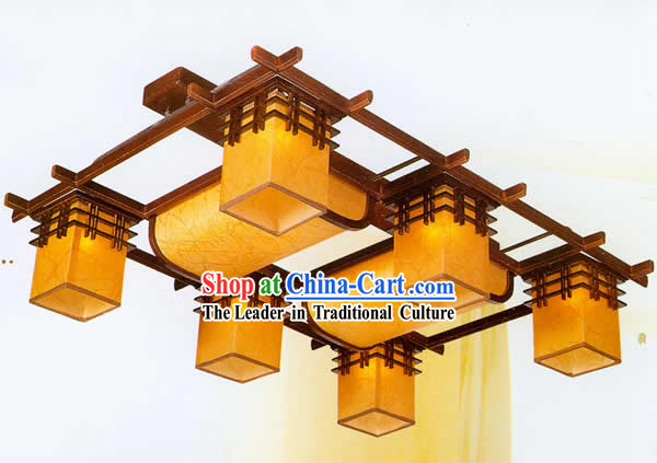 40 Inches Length Large Chinese Classical Sheepskin and Wooden Ceiling Lantern