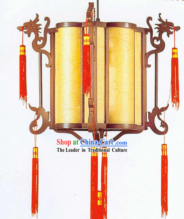 Chinese Hand Made Carved Wooden Plain Double Dragons Ceiling Lantern