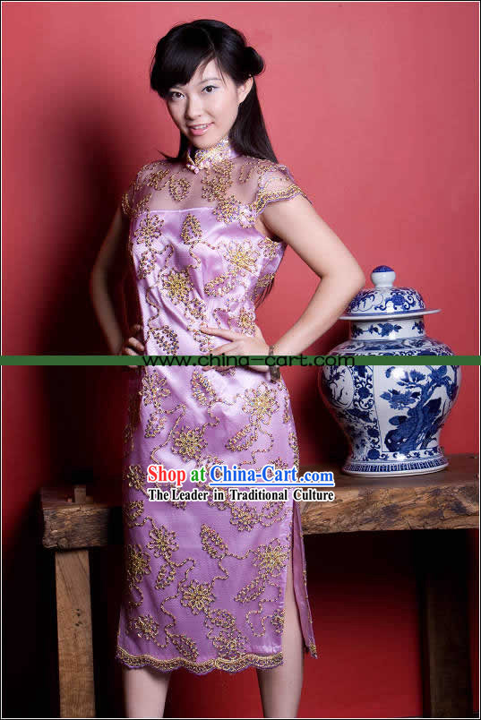 Supreme Chinese Stunning Purple Gold Flower Long Cheongsam _Qipao_