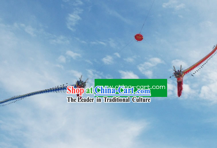 Chinese Hand Made and Painted Traditional Kite - Double Dragons Playing Ball