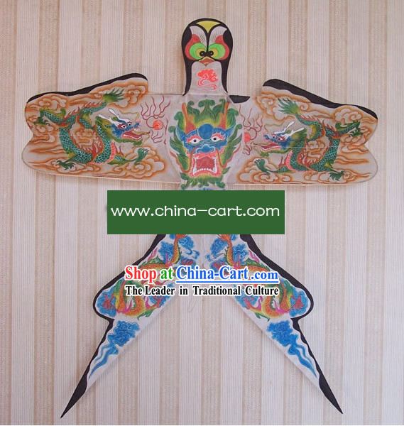 Chinese Classical Hand Painted and Made Swallow Kite - Five Dragons