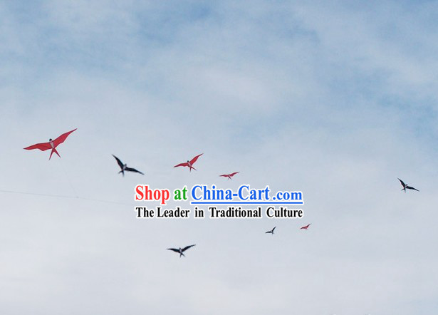 Unique Chinese Weifang Hand Painted and Made Kite - 8 Swallows Group