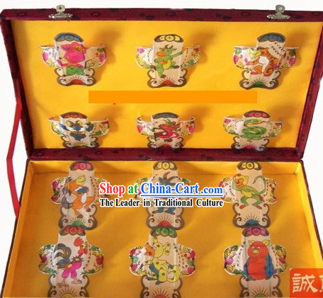 Chinese Traditional Weifang Hand Painted and Made 12 Kites Set - Chinese Zodiac _Sheng Xiao_