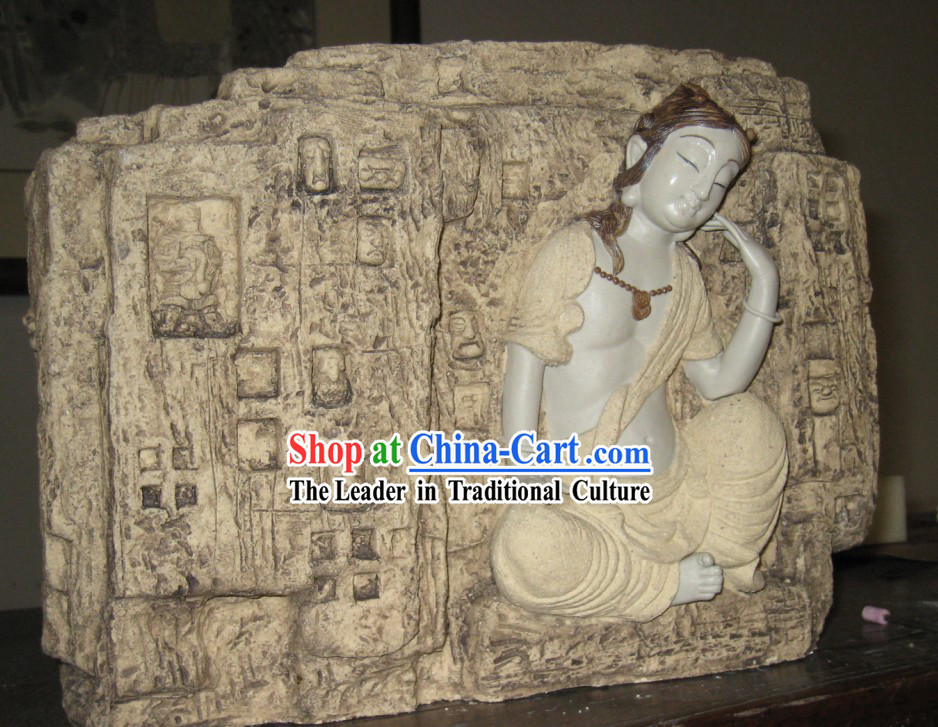 Chinese Classic Shiwan Ceramics Statue Arts Collection - Thinking Bodhisattva