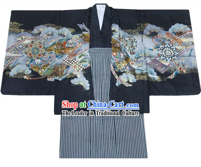 Supreme Traditional Japanese Kimono 10 Pieces Full Set for Five Years Boy
