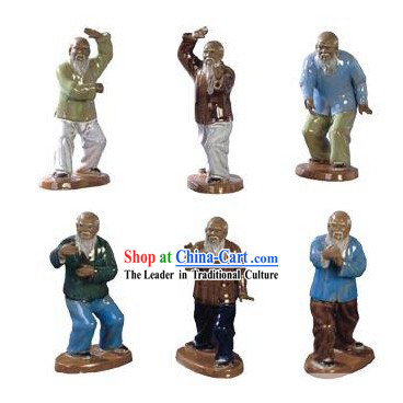 Chinese Traditional Shiwan Tai Chi Ceramic Figurines 6 Pieces Set
