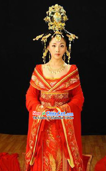 China Tang Dynasty Ancient Palace Phoenix  Empress Wedding Dress and Hair Decoration