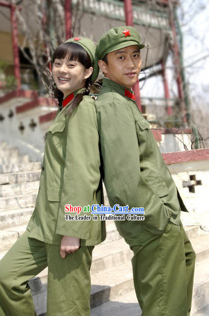 Chinese Red Army Solider Stage Performance Costumes and Hat Complete Set