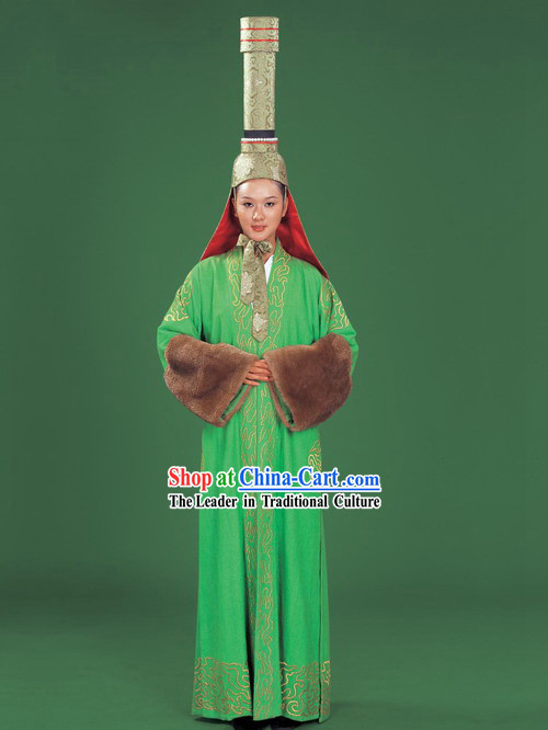 Chinese Traditional Mongolian Clothing and High Hat Complete Set