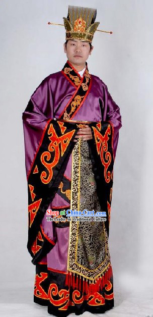 Ancient Chinese Minister Costumes and Hat Complete Set