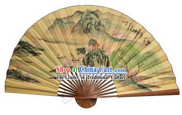 Chinese Giant Hand Painted Wall Fan - Guilin