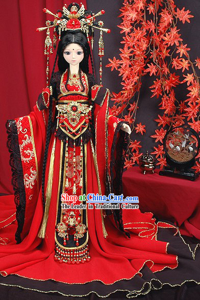 Ancient Chinese Princess Wedding Dress and Headpiece BJD Costumes Complete Set