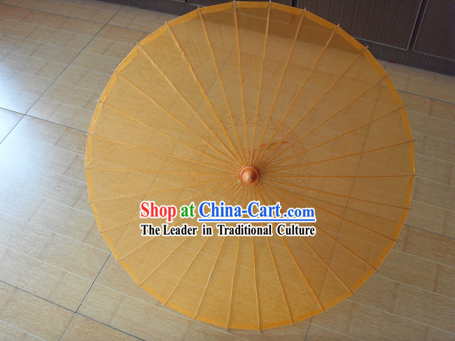 Chinese Hand Made Transparent Yellow Silk Dance Umbrella