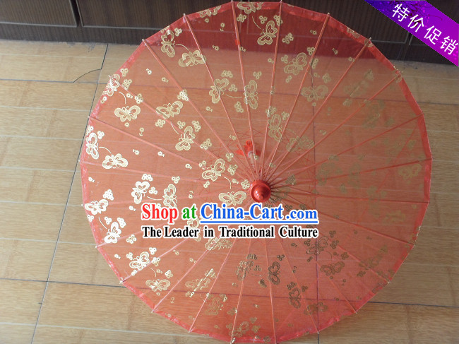 Chinese Hand Made Transparent Silk Dance Umbrella