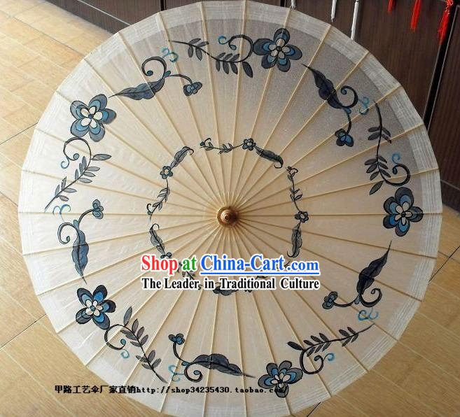 China Hand Painted Ancient Style Blue and White Flower Umbrellas